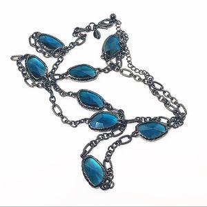 Chico's Long Hematite & Blue Stone Necklace